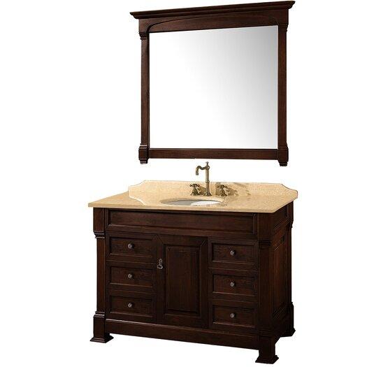 """Wyndham Collection Andover 48"""" Single Bathroom Vanity Set with Mirror"""