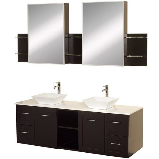"""Wyndham Collection Avara 60"""" Wall-Mounted Bathroom Vanity Set with Double Sink"""