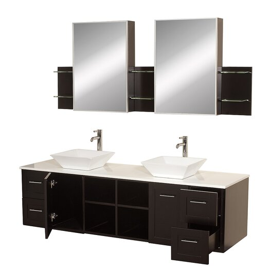 "Wyndham Collection Avara 72"" Bathroom Vanity Set with Double Sink"