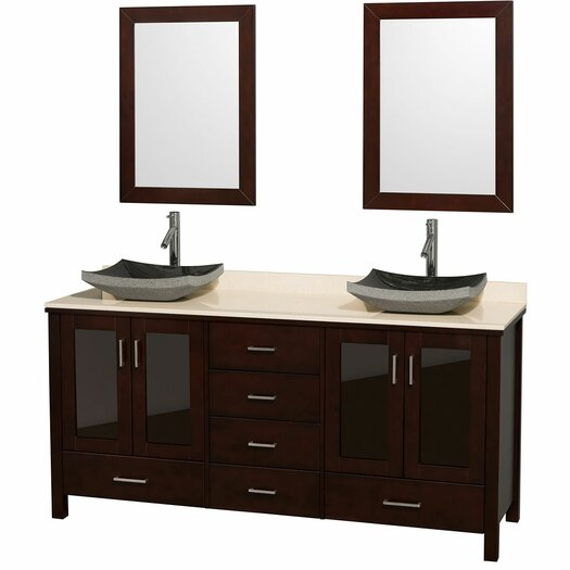 """Wyndham Collection Lucy 72"""" Double Bathroom Vanity Set with Mirror"""