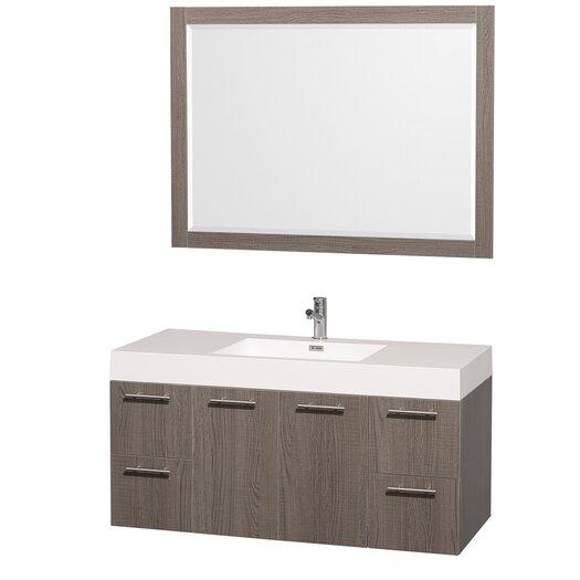 "Wyndham Collection Amare 47"" Single Bathroom Vanity Set with Mirror"