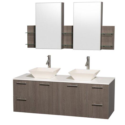 "Wyndham Collection Amare 60"" Double Bathroom Vanity Set"