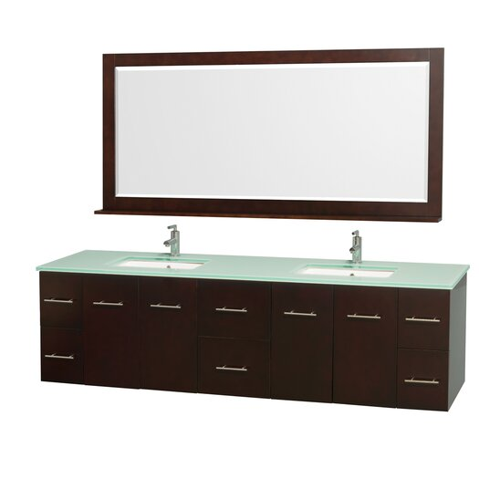 """Wyndham Collection Centra 80"""" Double Bathroom Vanity Set with Mirror"""