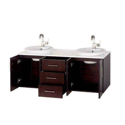 "Wyndham Collection Arrano 55"" Double Bathroom Vanity Set with Mirror"