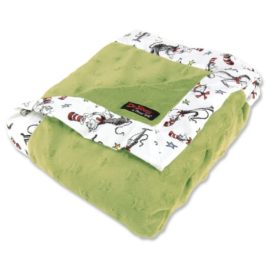 Trend Lab Dr. Seuss Cat in the Hat Hat Receiving Blanket in Green