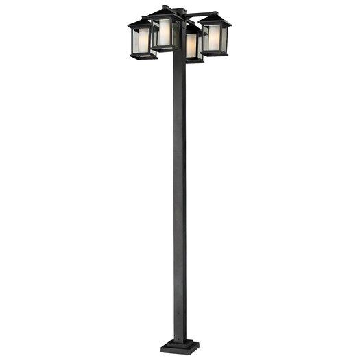"Z-Lite Mesa 4 Light 99"" Aluminum Outdoor Post Lantern Set"