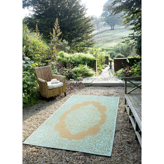 Fab Rugs World Istanbul Fair Aqua/Warm Taupe Indoor/Outdoor Area Rug