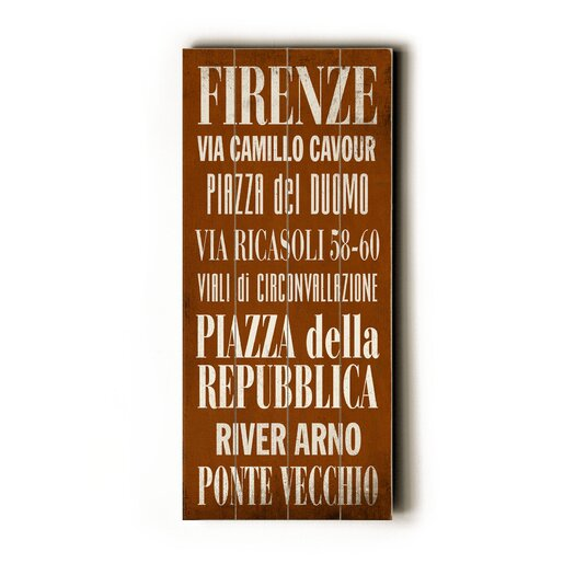 Artehouse LLC Firenze Transit Textual Art Plaque