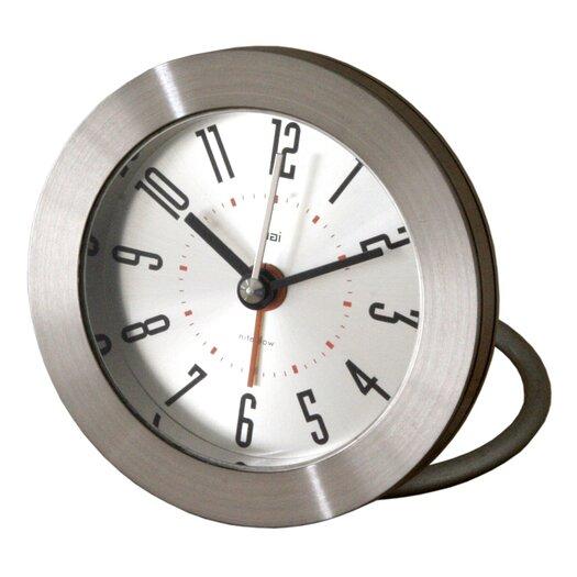Bai Design Diecast Round Travel Alarm Clock with Bold Arabic Numerals