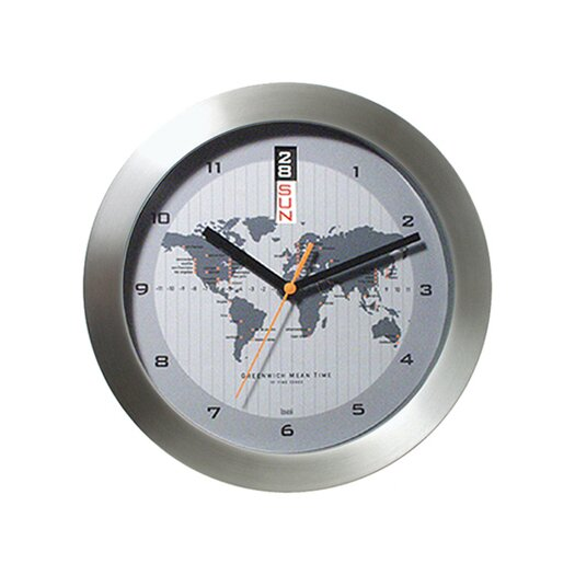 "Bai Design 11"" GMT Wall Clock with World Map"