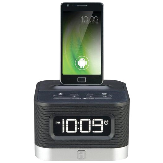 iHome Universal Charging FM Stereo Alarm Clock Radio for Android Smartphones