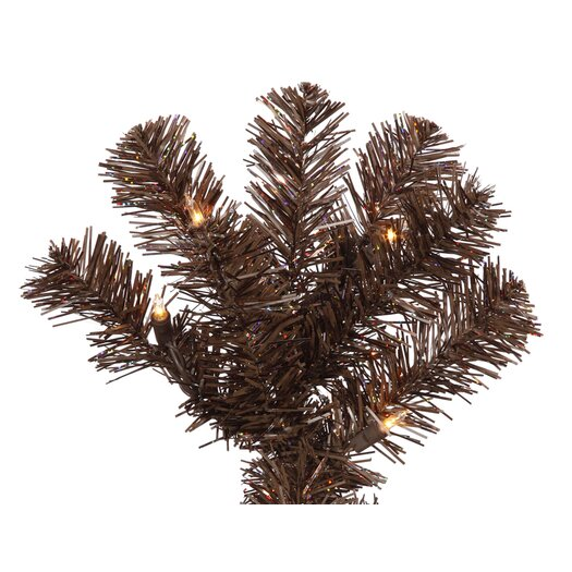 Vickerman Co. 7.5' Mocha Artificial Pencil Christmas Tree with 400 Clear Mini Lights