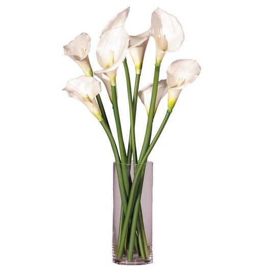 Vickerman Co. Floral Artificial Potted Peach Callas with Vase