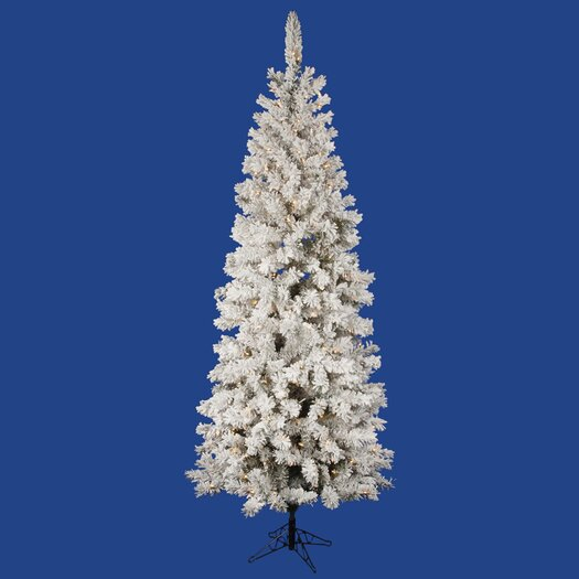 Vickerman Co. Flocked Pacific Pine 6.5' White Artificial Pencil Christmas Tree with 300 Clear Lights with Stand