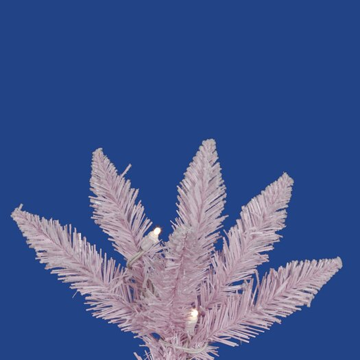 Vickerman Co. Flocked Pink Spruce 7.5' White Artificial Christmas Tree with 270 LED Lights with Stand