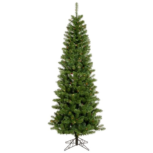 Vickerman Co. Salem Pencil Pine 7.5' Green Artificial Christmas Tree with 350 Multicolored Lights with Stand