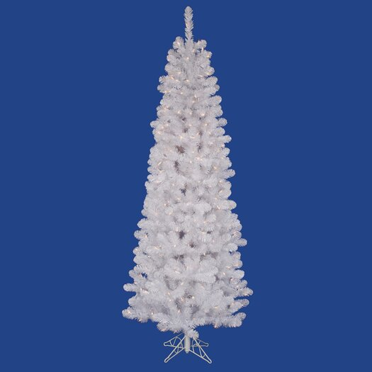 Vickerman Co. Salem Pencil Pine 6.5' White Artificial Christmas Tree with 180 LED Warm White LED Lights with Stand
