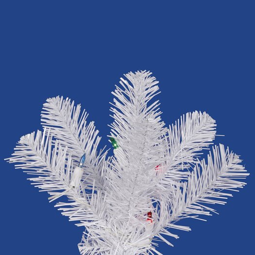 Vickerman Co. White Salem Pencil Pine 6.5' Artificial Christmas Tree with 165 LED Multicolored Lights with Stand