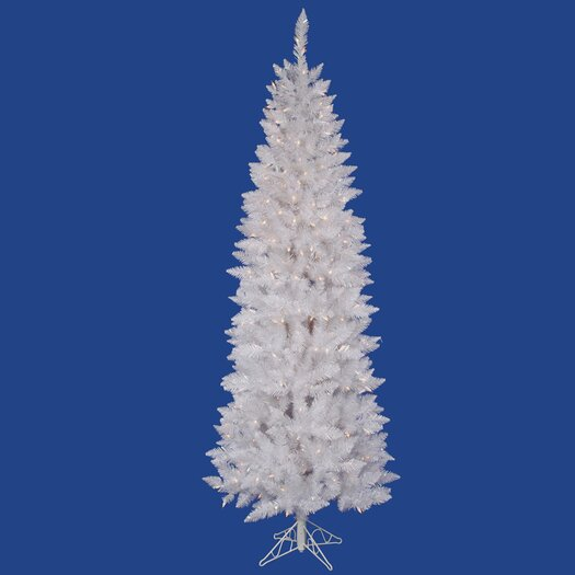 Vickerman Co. Crystal White Spruce Pencil 7.5' Artificial Christmas Tree with 275 LED Multicolored Lights with Stand