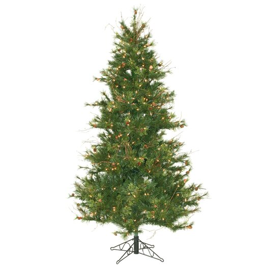 Vickerman Co. Mixed Country Pine Slim 6.5' Green Artificial Christmas Tree with 400 Clear Lights with Stand