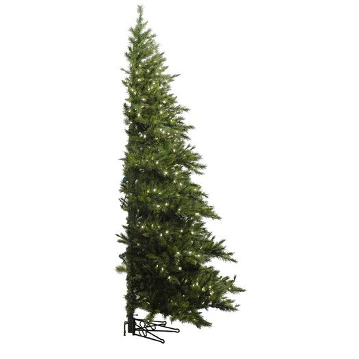 Vickerman Co. Minnesota Pine Westbrook 7.5' Green Artificial Half Christmas Tree with 500 Clear Lights with Stand