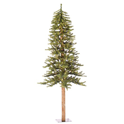 Vickerman Co. Natural Alpine 7' Green Artificial Christmas Tree with 300 Clear Lights with Stand