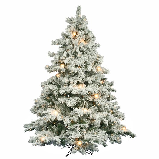 Vickerman Co. Flocked Alaskan 6.5' White Artificial Christmas Tree with 600 Clear Lights with Stand
