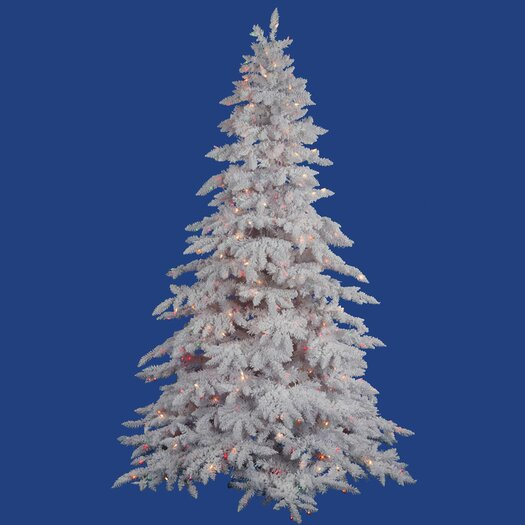 Vickerman Co. Flocked White Spruce 4.5' Artificial Christmas Tree with 225 LED Multicolored Lights with Stand