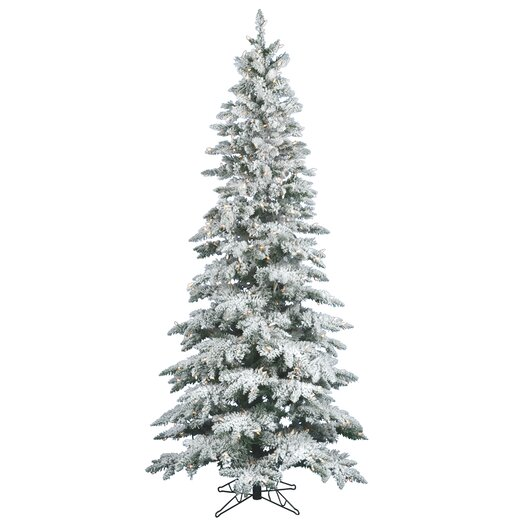 Vickerman Co. Flocked Utica Fir 10' White Artificial Christmas Tree with 540 LED White Lights with Stand