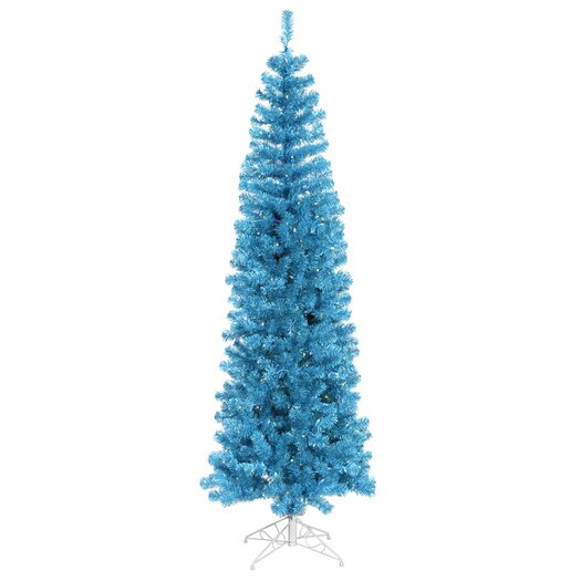 Vickerman Co. Pencil 9' Sky Blue Artificial Christmas Tree with 550 Sky Blue Lights