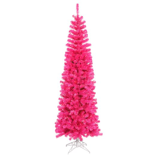 Vickerman Co. Pencil 5.5' Pink Artificial Christmas Tree with 250 Pink Lights