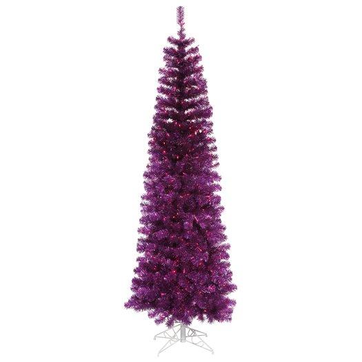 Vickerman Co. 7.5' Purple Artificial Pencil Christmas Tree with 400 Purple Mini Lights