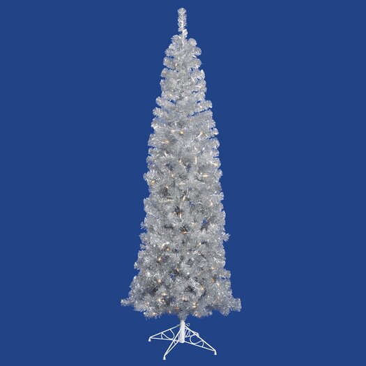 Vickerman Co. 6.5' Silver Artificial Pencil Christmas Tree with 300 Clear Mini Lights