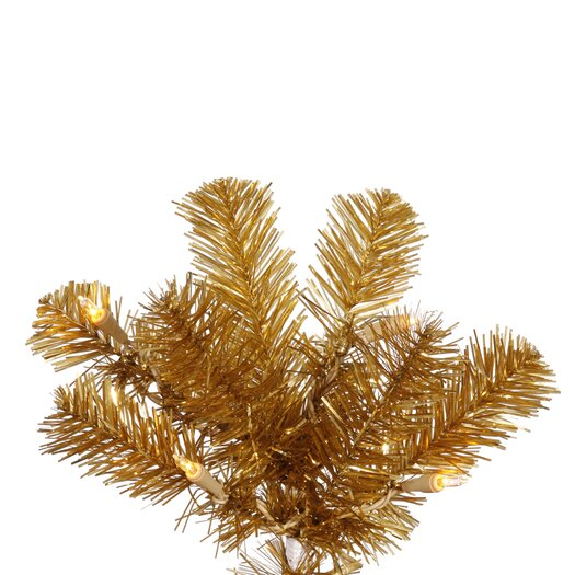 Vickerman Co. 9' Antique Gold Artificial Pencil Christmas Tree with 550 Clear Mini Lights