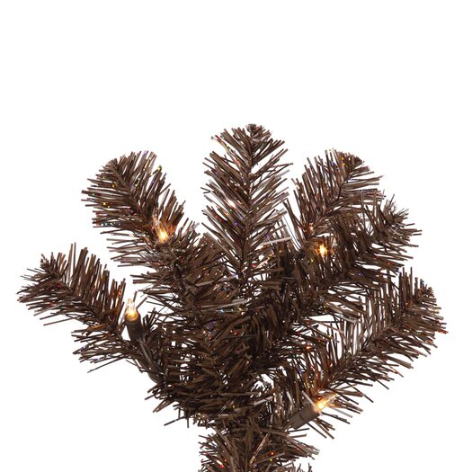 Vickerman Co. 6.5' Mocha Artificial Pencil Christmas Tree with 300 Clear Mini Lights