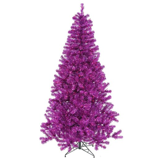 Vickerman Co. 8' Purple Artificial Christmas Tree with 600 Purple Mini Lights with Stand