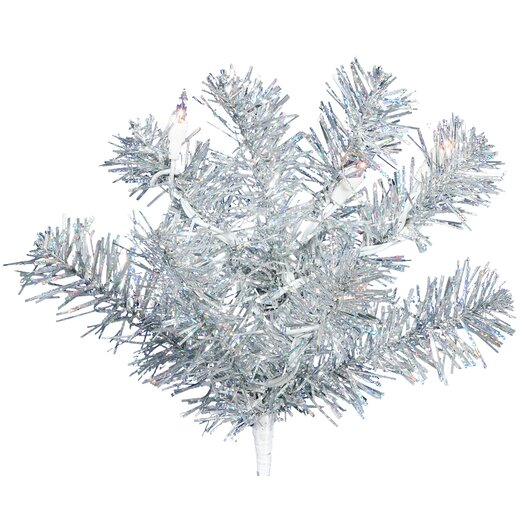 Vickerman Co. 7' Silver Artificial Christmas Tree with 500 Clear Mini Lights with Stand