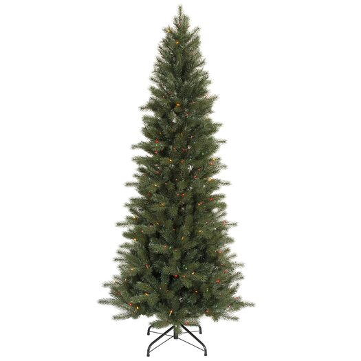 Vickerman Co. Blue Spruce Instant Shape 7.5' Green Artificial Christmas Tree with 450 Multicolored Dura-Lit Mini Lights with Stand