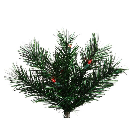 Vickerman Co. Midnight Green Pine 9' Artificial Christmas Tree with 600 Red Dura-Lit Mini Lights with Stand