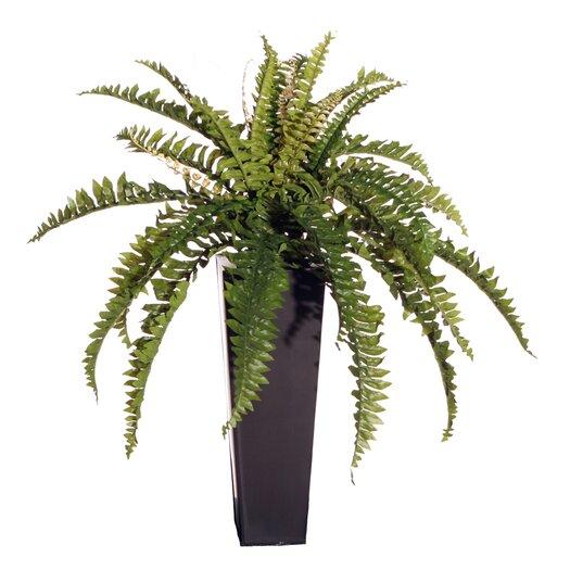 Vickerman Co. Floral Artificial Double Boston Fern Floor Plant in Decorative Vase