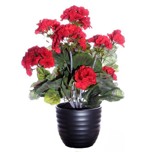 Vickerman Co. Floral Geranium with Ceramic Pot