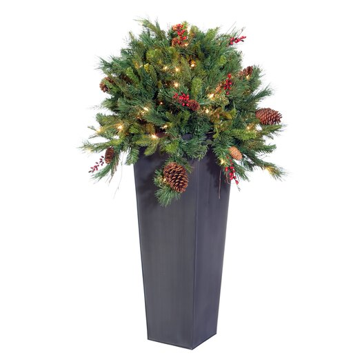 Vickerman Co. Blue Wreath and Garland Cibola Berry Tree in Planter