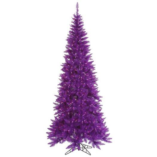 Vickerman Co. 4.5' Purple Slim Fir Artificial Christmas Tree with 200 Mini Lights