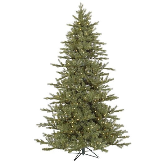 Vickerman Co. Baldwin 7.5' Green Spruce Artificial Christmas Tree with 700 LED White Lights with Stand