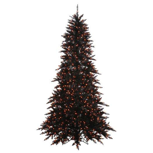 Vickerman Co. 7.5' Black Fir Artificial Christmas Tree with 750 Mini Orange Lights