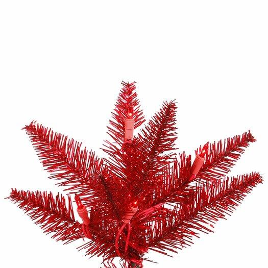Vickerman Co. 6.5' Tinsel Red Slim Fir Artificial Christmas Tree with 400Mini Lights