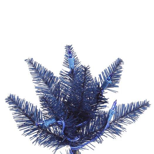 Vickerman Co. 7.5' Navy Blue Slim Fir Artificial Christmas Tree with 500 Mini Lights