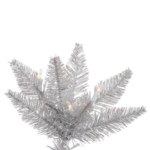 Vickerman Co. 5.5' Silver Slim Fir Artificial Christmas Tree with 300 Mini Clear Lights