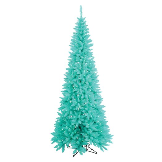Vickerman Co. 6.5' Aqua Slim Fir Artificial Christmas Tree with 400 Mini Lights