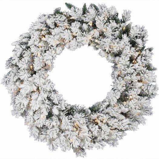 Vickerman Co. Flocked Snow Ridge Sprays Wreath with 50 Dura-Lit Lights